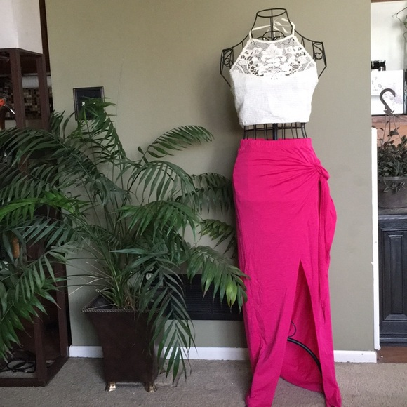✨NEW LIST✨Side Tie Front Slit Half Lined Wrap Maxi